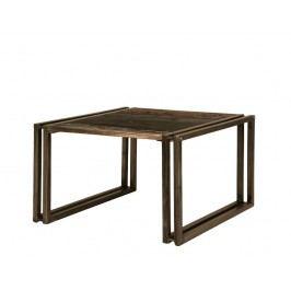 PORTO konferenčný stolík - 70x70cm staré lakované indické drevo