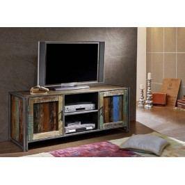 PORTO TV stolík staré lakované indické drevo/kov