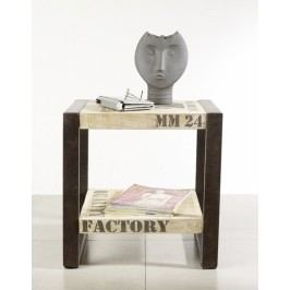 príručný stolík #101, liatina a mangové drevo, potlač