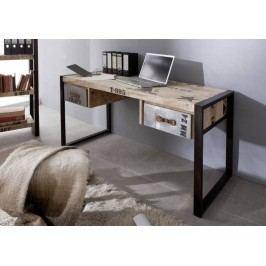 písací stôl #124, liatina a mangové drevo, potlač