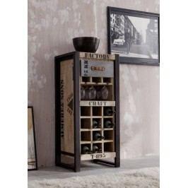 regál na víno #135, liatina a mangové drevo, potlač