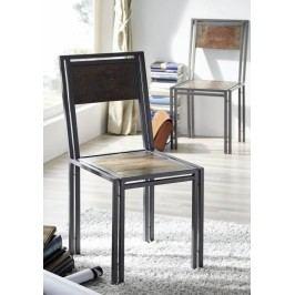PORTO stolička staré lakované indické drevo/kov
