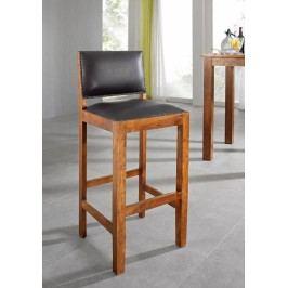 HONEY barová stolička pravá koža, masívna akácia, medová