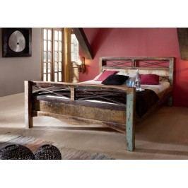 OLDTIME posteľ - 200x200cm lakované staré indické drevo
