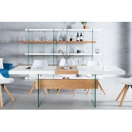 Rozkladací jedálenský stôl ANEX 160-200 cm - biela/prírodná