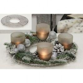 Dekoratívny podnos pod sviečky PORLEY, 40 cm - strieborná
