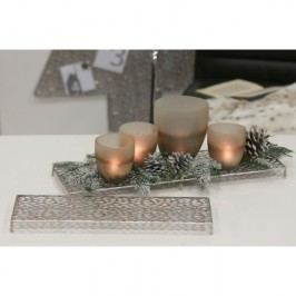 Dekoratívny podnos pod sviečky PORLEY, 50 cm - strieborná