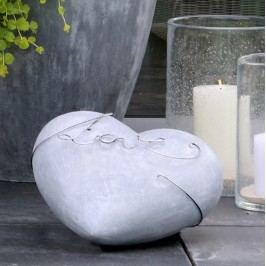Dekoratívne srdce, 31 cm - sivá