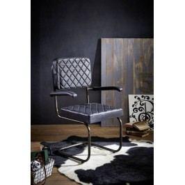 Stolička, pravá koža - čierna