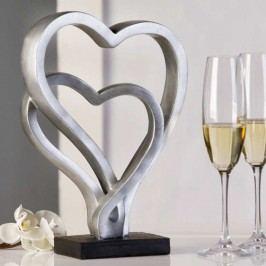 Dekoratívna soška HEARTS - strieborná