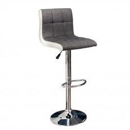 Barová stolička MADENA 90-115 CM - sivá, biela