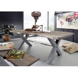 Jedálenský stôl 220x110cm X-nohy - strieborná