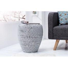 Príručný stolík / taburetka REAL 50 cm - strieborná
