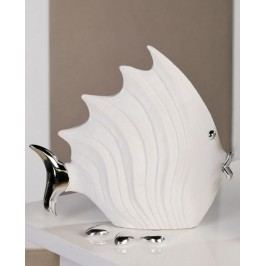 Dekoratívna soška FISH 26 cm - biela/strieborná