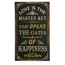 Ceduľa LOVE IS THE MASTER ... - čierna