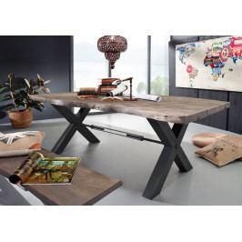 Masiv24 - DARKNESS Jedálenský stôl 180x110 cm - čierne nohy, sivá, akácia