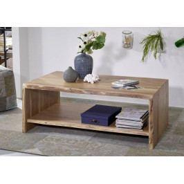 Masiv24 - WOODLAND Konferenčný stolík s poličkou 120x70 cm, prírodná, akácia