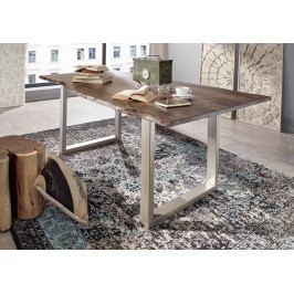Masiv24 - METALL Jedálenský stôl so striebornými nohami 140x90, akácia, sivá
