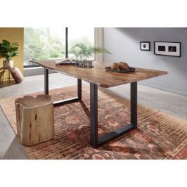 Masiv24 - METALL Jedálenský stôl s tmavošedými nohami 120x90, akácia, prírodná