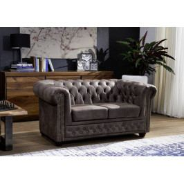 Masiv24 - CAMBRIDGE Sedačka Chesterfield 148 cm, tmavosivá