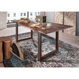 Masiv24 - METALL Jedálenský stôl s hnedými nohami 200x100, akácia, sivá