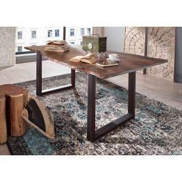 Masiv24 - METALL Jedálenský stôl s tmavošedými nohami 200x100, akácia, sivá