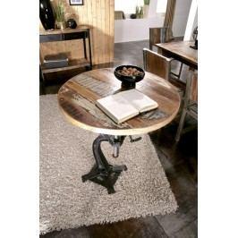 INDUSTRY okrúhly stôl #22, liatina a staré drevo