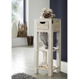 WHITE WOOD príručný stolík maľovaný akáciový nábytok