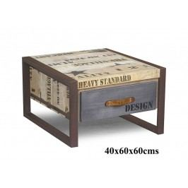 FABRICA konferenčný stolík #127, liatina a mangové drevo, potlač