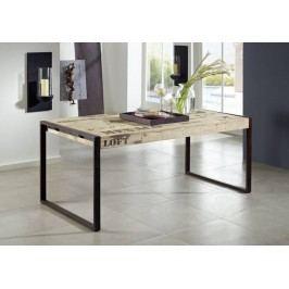 FABRICA jedálenský stôl #122, 120x70 liatina a mangové drevo, potlač