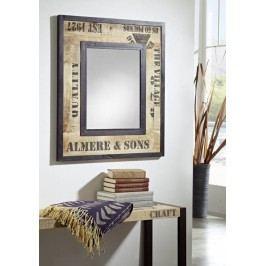 FABRICA zrkadlo #112, liatina a mangové drevo, potlač