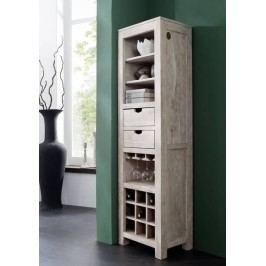 WHITE WOOD regál na víno maľovaný akáciový nábytok