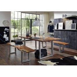 METALL stôl 200x100 cm, masívna akácia