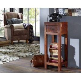 MUMBAJ Telefónny stolík, akácia, nugatová, 30x30 cm