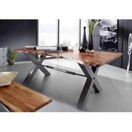 DARKNESS Jedálenský stôl 260x100cm X-nohy - strieborná
