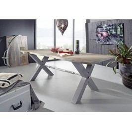 DARKNESS Jedálenský stôl 240x100cm X-nohy - strieborná
