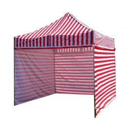 Záhradný párty stan PROFI STEEL 3 x 3 - červeno-biela pruhovaná