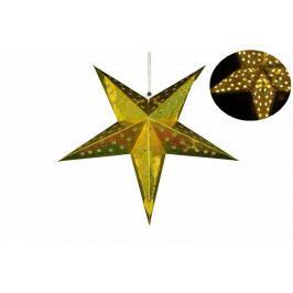 Vianočná dekorácia - hviezda s časovačom 60 cm - 10 LED, zlatá