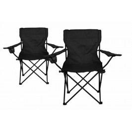 Kempingová sada – 2 x skladacia stolička s držiakom – čierna