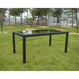 Záhradný stolík RATAN so sklenenou doskou 150 x 90 cm