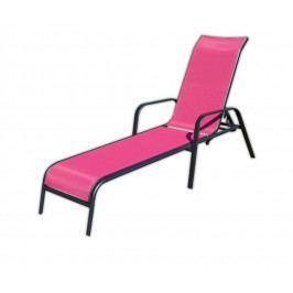 Záhradné ležadlo kovové - ružové