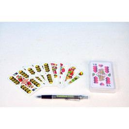 Mariáš dvouhlavý společenská hra karty v plastové krabičce 7x11cm