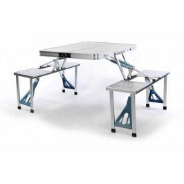 Skladací hliníkový stôl so vstavanými lavicami
