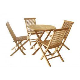 Záhradný set Garth z tíkového dreva, 1 stôl + 4 stoličky