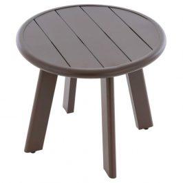 Okrúhly hliníkový stolík, tmavohnedý