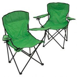 Sada 2 ks skladacích stoličiek - tmavozelené
