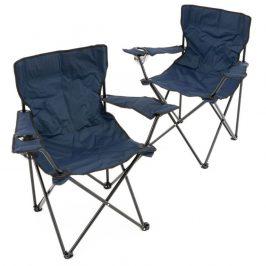 Sada 2 ks skladacích stoličiek - tmavomodré