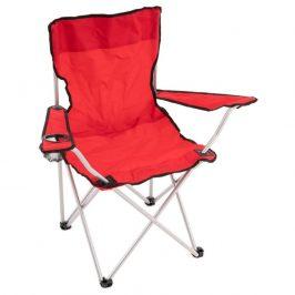 Skladacia kempingová stolička s držiakom nápojov, červená