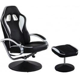 Kancelárska stolička GT RELAX SERIES s podnožkou - čierna/biela