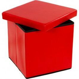 Taburetka s úložným priestorom, červená